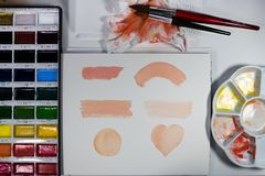 Paint for artistic drawing watercolor is the best paint. stock photography
