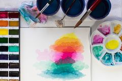 Paint for artistic drawing watercolor is the best paint. stock image