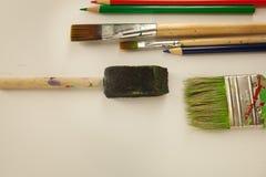 Art paint brushes foam brush multiple colors coloring pencil. Art paint brushes foam brush multiple color coloring pencils artist school materials stock photos