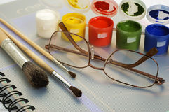 Art paint brushes & gouache Royalty Free Stock Images