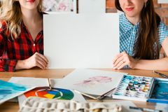 Art paint craft drawing course blank empty paper royalty free stock images
