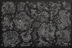 Art and paint materials doodles chalkboard vector Stock Photo