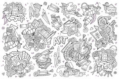 Art and paint materials doodles hand drawn vector Stock Photo