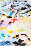 Art paint palette with paints Royalty Free Stock Photo