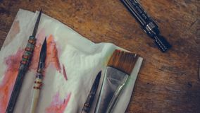 Art Paint Wet Brushes Tool fijó en el papel imagen de archivo libre de regalías