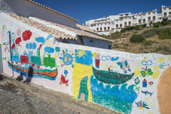 Art painted brick walls in burgau Royalty Free Stock Images