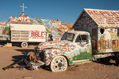 Art painted trucks in Salvation mountain, California Royalty Free Stock Images