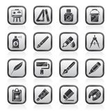 Art and painter icons. Vector icon set Stock Images