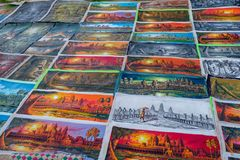 Art of painting Angkor Wat. Angkor wat, Siem Reap, Cambodia - October 2018 : Beautiful Paper painting of Angkor Wat on ground for sell by local Native stock images