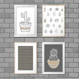 Art painting with Cactus in frame. Abstract pattern. Vector illustration concept stock photography