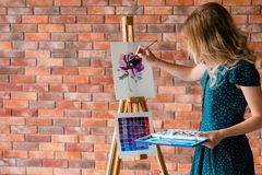 Art painting hobby leisure girl drawing picture. Art painting hobby. creative leisure. girl drawing a picture. talent inspiration creation and self expression royalty free stock images