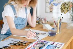 Art painting hobby leisure girl drawing picture. Art painting hobby. creative leisure. girl drawing a picture. talent inspiration creation and self expression royalty free stock photography