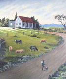 Art painting of humble cottage at sundown with cattle herder and Stock Photo