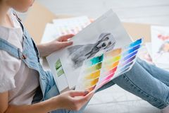 Art painting picture dog drawing weimaraner. Art painting. inspiration and creativity concept. picture of a dog. drawing of a weimaraner. artist creations. color stock photos