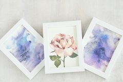 Art painting picture draw rose abstract watercolor. Art painting. inspiration and creativity concept. picture of a rose. abstract purple watercolor drawing stock photos