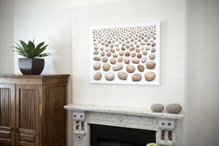 Art Painting Mantlepiece. A detail of a piece of artwork above a mantelpiece Royalty Free Stock Photo