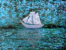 Free Art Painting Of The White Boat Royalty Free Stock Photo - 182947345