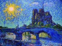 Art painting of the Paris Stock Photos