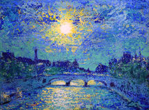 Art painting of the Paris Stock Image