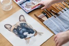 Art painting picture dog drawing french bulldog. Art painting. inspiration and creativity concept. picture of a dog. drawing of a french bulldog. artist royalty free stock photography