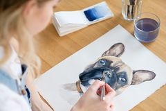 Art painting picture dog drawing french bulldog. Art painting. inspiration and creativity concept. picture of a dog. drawing of a french bulldog. artist royalty free stock images