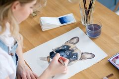Art painting picture dog drawing french bulldog. Art painting. inspiration and creativity concept. picture of a dog. drawing of a french bulldog. artist royalty free stock photo