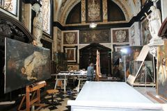 Art Painting Restoration Stock Images