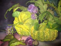 Art, painting on silk. Pumpkin with figs and flowers. Stock Images