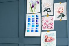 Art painting skill color swatch watercolor drawing stock photos