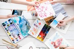 Art painting skill color swatch watercolor drawing stock image
