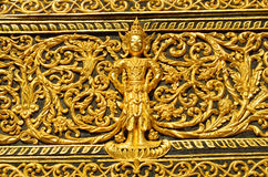 Art painting on window of the temple. Pattern in traditional Thai style art painting on window of the temple Stock Image