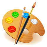 Art palette. Wooden art palette with paints and brushes vector illustration