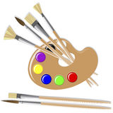 Art palette. Art palette with paints and brushes Royalty Free Stock Photos