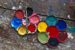 Art palette and brush paiting Stock Photos
