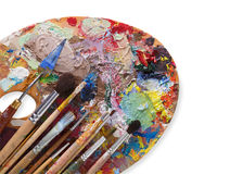 Art palette with colorful paint strokes, isolated Royalty Free Stock Photos