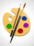 Art palette and instrument for drawing Stock Photo