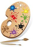 Art palette and instrument with paint and brush Stock Images