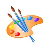 Art palette with paint brush for drawing Stock Image