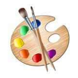 Art palette with paint brush for drawing Royalty Free Stock Images