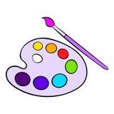 Art palette with paint brush icon cartoon Stock Photo