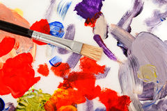 Art Palette, Paint and Brushes Royalty Free Stock Photos