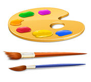 Art palette with paint and brushes stock illustration