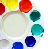 Art palette with paint color isolated on white royalty free stock image