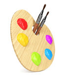 Art palette with paintbrushes Royalty Free Stock Photography