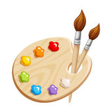 Art palette with paints and brushes. Vector illustration. Royalty Free Stock Photo