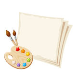 Art palette and paper sheets. Vector illustration. Stock Photos