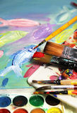 Art palette, picture and mix of paintbrushes Royalty Free Stock Photo