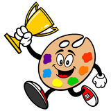 Art Palette Running with Trophy Royalty Free Stock Image