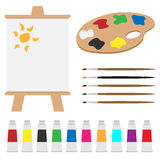 Art palette set. Set of art palette, colors, brushes, easel isolated on white background.EPS file available stock illustration