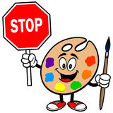 Art Palette with Stop Sign Royalty Free Stock Photos